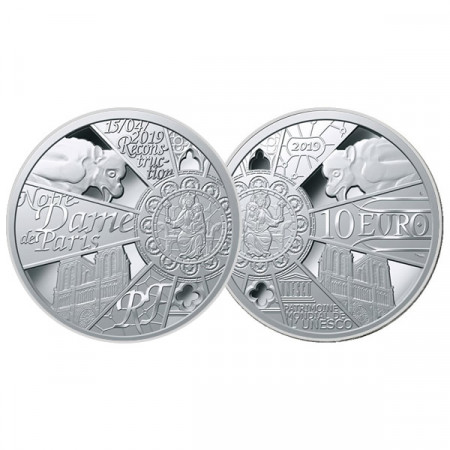 """2019 * 10 Euro FRANCE """"Reconstruction of Notre-Dame"""" PROOF"""