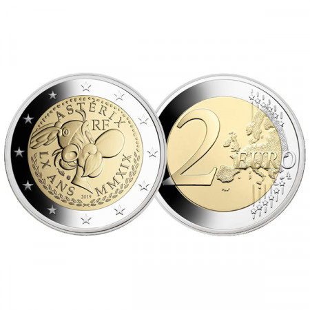 """2019 * 2 Euro FRANCE """"60th Anniversary of Asterix"""" PROOF"""