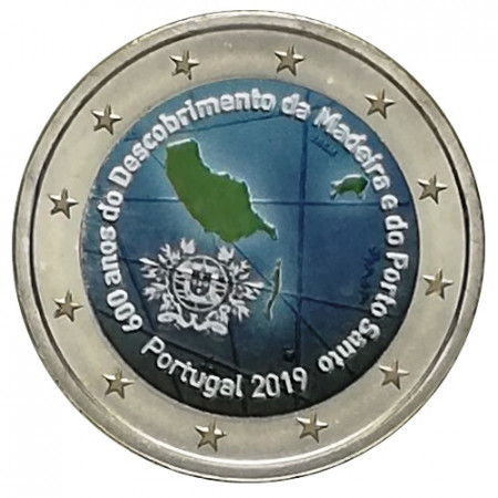 "2019 * 2 Euro PORTUGAL ""600º Discovery of Madeira Island"" Colored"