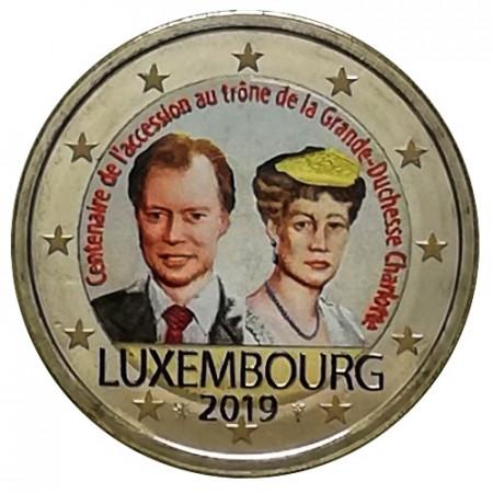 "2019 * 2 Euro LUXEMBOURG ""100th Anniversary of Grand Duchess Charlotte"" Colored"