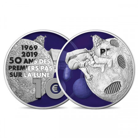 """2019 * 10 Euro FRANCE """"50th Anniversary First Steps On The Moon"""" PROOF"""