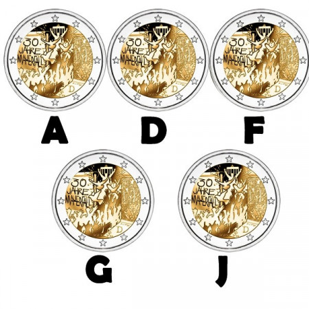 """2019 * 2 Euro GERMANY """"30th Berlin Wall Fall"""" - 5 Coins UNC"""