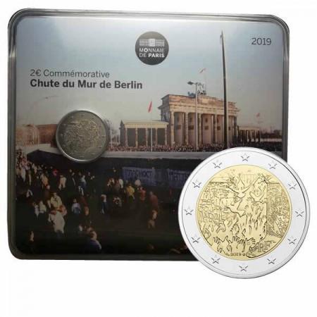 """2019 * 2 Euro FRANCE """"30th Berlin Wall Fall"""" Coincard"""