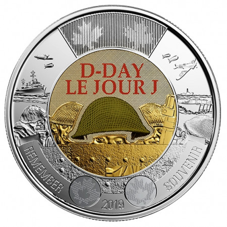 """2019 * 2 Dollars Toonie Canada """"75th Anniversary of D-Day"""" Colored UNC"""