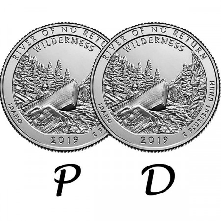 "2019 * 2 x Quarter Dollar (25 Cents) United States ""River of No Return - Idaho"" P+D"