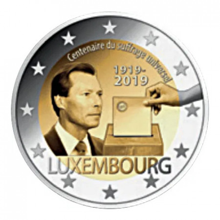 """2019 * 2 Euro LUXEMBOURG """"100 Years of Universal Suffrage"""" UNC - Roll Version"""