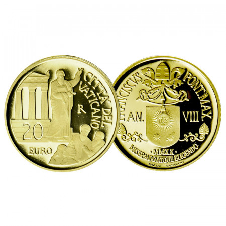 "2020 * 20 Euro Gold VATICAN ""Acts of the Apostles: The Mission to Macedonia, Greece and Asia Minor"" PROOF"