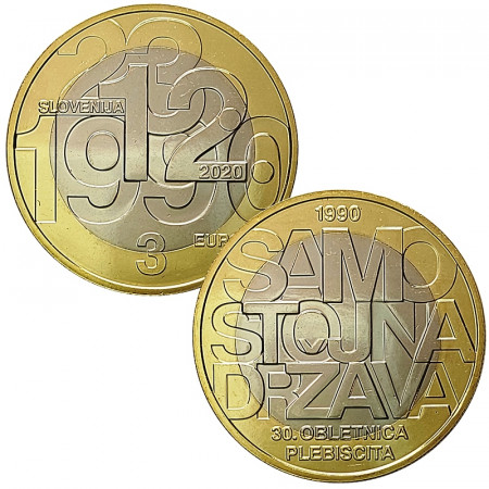 "2020 * 3 Euro SLOVENIA ""30th Sovereignty and Independence of Slovenia"" UNC"