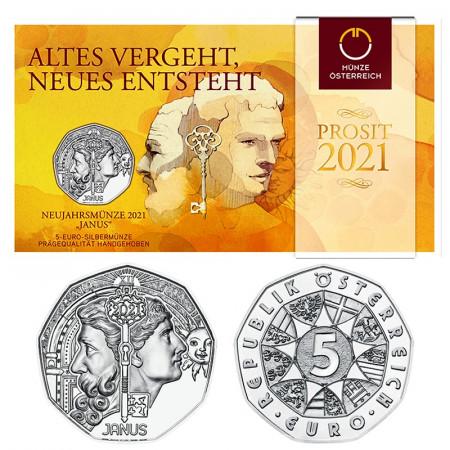 """2021 * 5 Euro Silver AUSTRIA """"PROSIT – Janus"""" BU"""