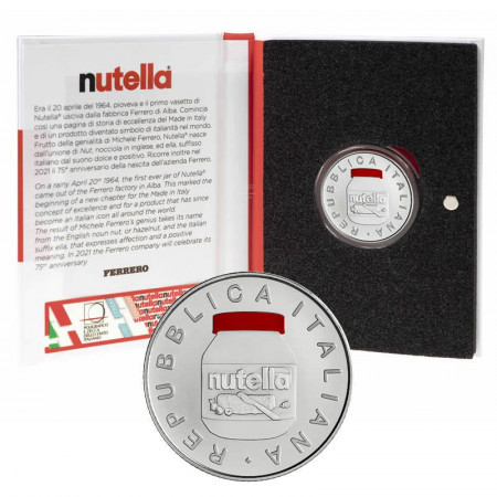 """2021 * 5 Euro Silver ITALY  """"Excellence - NUTELLA® Gruppo Ferrero - RED"""" BU"""