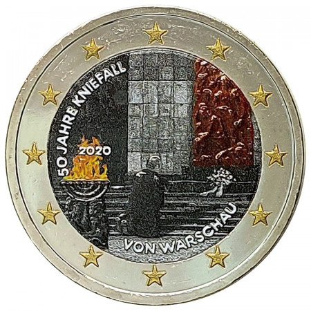 """2020 * 2 Euro GERMANY """"50 Years Since the Kniefall von Warschau"""" Colored"""