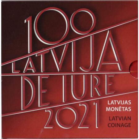"""2021 * LATVIA Official Euro Coin Set """"De Iure 100"""" BU"""