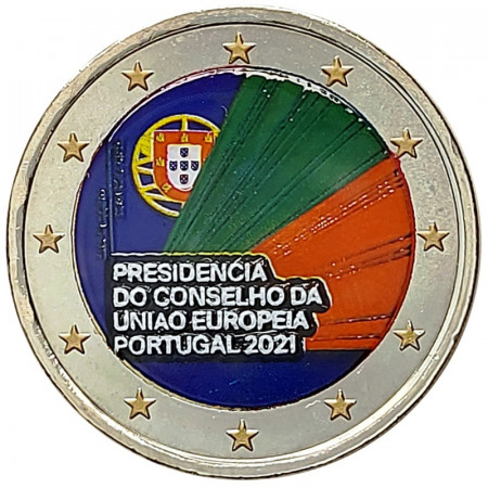 """2021 * 2 Euro PORTUGAL """"Presidency of the Council of the European Union"""" Colored"""