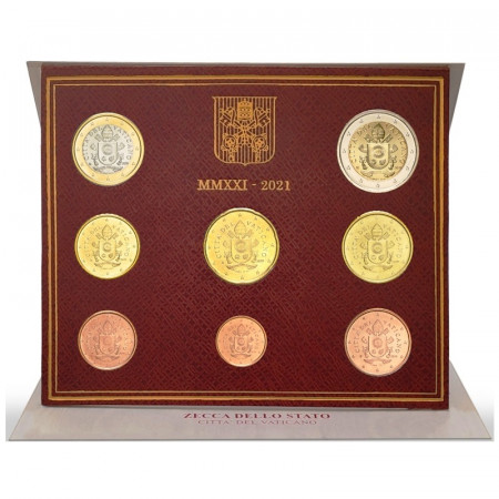 """2021 * VATICAN Official Coinset 8 Coins Pope Francis """"Year VIII"""" BU"""