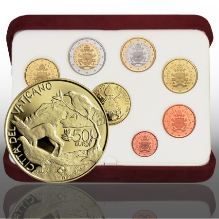 "2021 * VATICAN Official Coin Set Pope Francis 50 Euro GOLD ""Year VIII"" PROOF"