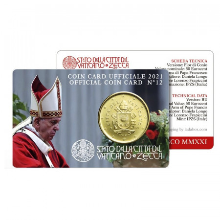"""2021 * Coincard VATICAN 50 Cents """"Pope Francis"""" N.12"""