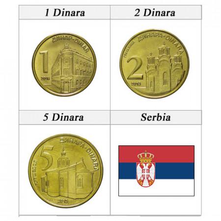 "Mixed Years * Series 3 Coins Serbia ""Dinara"" UNC"