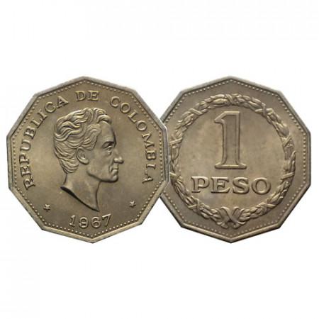 """1967 * 1 Peso Colombia """"Simon Bolivar"""" (KM 229) UNC"""