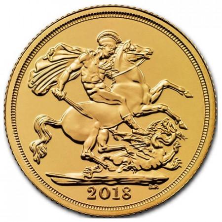 "2018 * 1 Sovereign Gold Great Britain ""Elizabeth II - St. George"" BU"