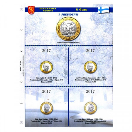 "Sheet + Pochets for 5 Euro Commemorative Coins Finland 2017 ""Presidents Series"" * ABAFIL"