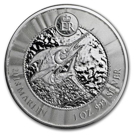 """2018 * 1 Dollar Silver 1 OZ Cayman Islands """"Blue Marlin"""" BU"""