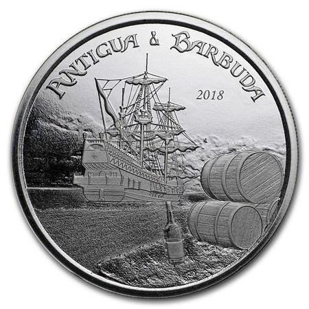 "2018 * 2 Dollars Silver 1 OZ Eastern Caribbean - Antigua and Barbuda ""Rum Runner"" BU"