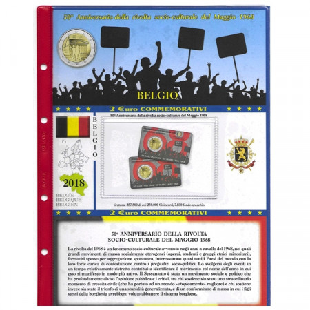"2018 Sheet + Pochet 2 Euro BELGIUM ""50th of May 1968 Events"" * ABAFIL"