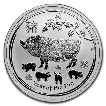 """2019 * 1 Dollar Silver 1 OZ Australia """"Year of the Pig"""" BU"""