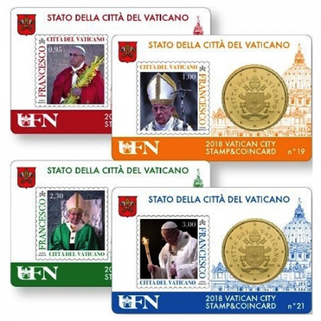 "2018 * 4 x Coincard VATICAN 50 Cents Euro ""Stamp and Coin"" N 18-21"