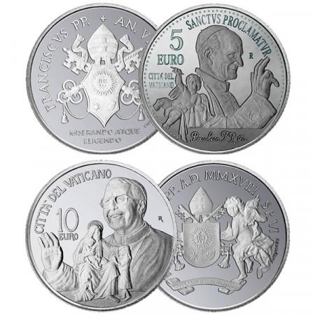 "2018 * Diptych 5 + 10 Euro Silver VATICAN ""Pope Francis"" Year VI"