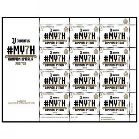 """2018 * Sheet 12 Stamps San Marino 2,00 Euro """"MY7H - Juventus Campione d'Italia"""""""