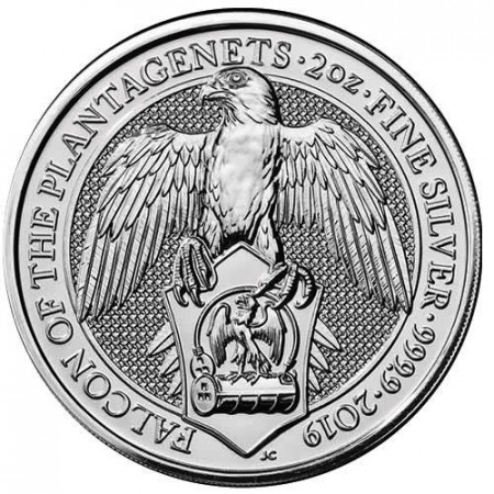 """2019 * 5 Pounds Silver 2 OZ Great Britain """"Queen's Beasts - Falcon"""" BU"""