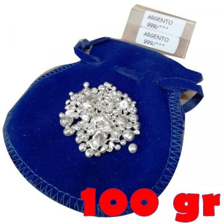 Investment * Pure Silver Balls 0.999 100 GR in Velvet Bag