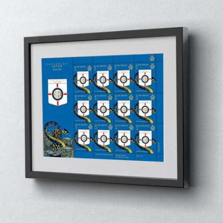 """2018 * Sheet 12 Stamps San Marino 2,00 Euro """"Centodieci Inter 1908-2018"""" in FRAME"""