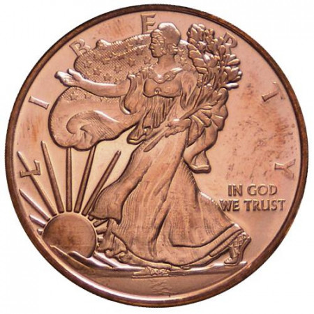 """ND * Troy Ounce 1 OZ Copper Ounce """"United States - Liberty"""" BU"""