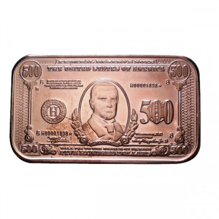 """ND * Troy Ounce 1 OZ Copper Ounce """"United States - 500 Dollars"""" BU"""