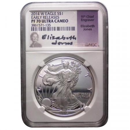 """2014 W * 1 Dollar Silver 1 OZ United States """"Liberty - Silver Eagle - E. Jones"""" PF70 Ultra Cameo"""