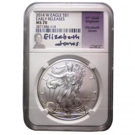 """2014 W * 1 Dollar Silver 1 OZ United States """"Liberty - Silver Eagle - E. Jones"""" MS 70"""