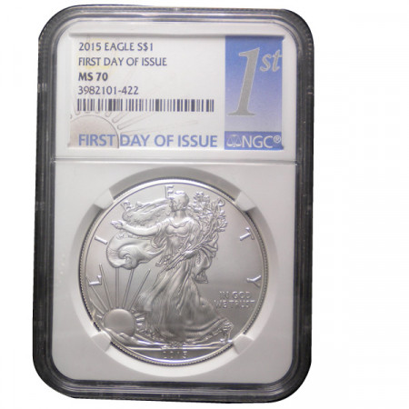 """2015 * 1 Dollar Silver 1 OZ United States """"Liberty - Silver Eagle - First Day"""" MS 70"""