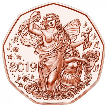"2019 * 5 Euro Copper AUSTRIA ""New Year - State Opera in Vienna"" UNC"
