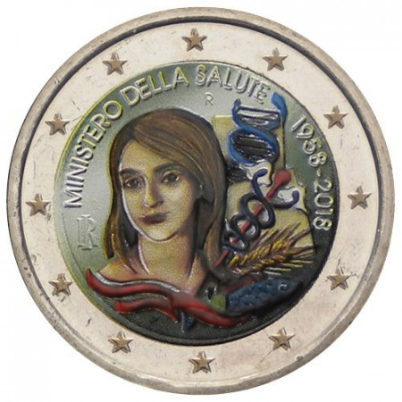 """2018 * 2 Euro ITALY """"60th Ministry of Health"""" Colored"""