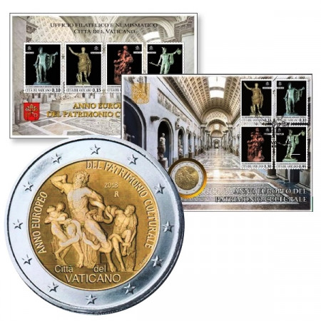 "2018 * 2 Euro VATICAN ""European Year of Cultural Heritage"" Coin & Stamps"