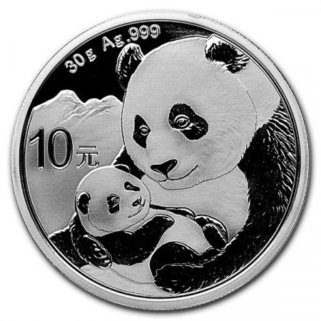 """2019 * 10 Yuan Silver (30gr) China """"Panda"""" BU"""