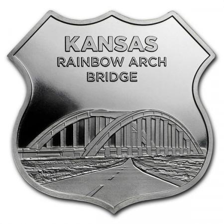 "2018 * Troy Ounce SMI 1 OZ Silver Ounce ""United States - Route 66 - Kansas Rainbow Bridge"" BU"