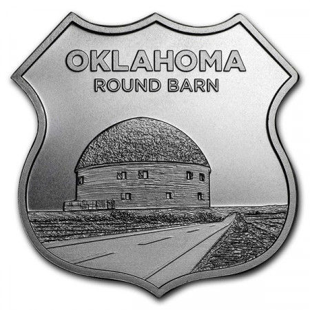 "2018 * Troy Ounce SMI 1 OZ Silver Ounce ""United States - Route 66 - Oklahoma Round Barn"" BU"