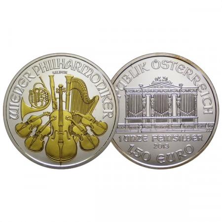 """2013 * 1,50 Euro 1 OZ Ounce Austria """"Philharmonic - Gold Detail"""" BU"""