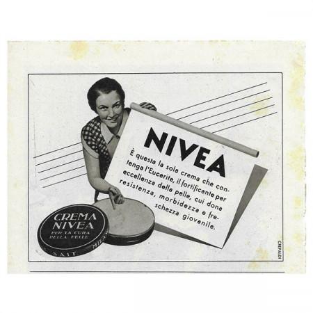 """1941 * Advertising Original Cream NIVEA """"Crepaldi"""" White/Black"""
