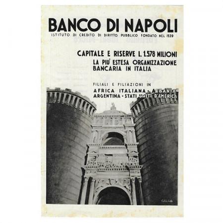 """1941 * Advertising Original Banco di Napoli """"Dario Cella"""" White/Black"""