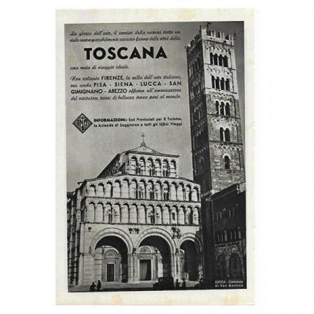 "1941 * Advertising Original Tourism ""Toscana - Lucca"" White/Black"