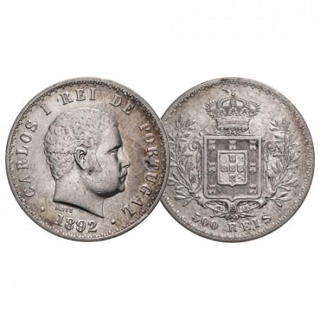 "1892 * 500 Reis Silver Portugal ""Carlos I - Crowned Arms"" (KM 535) VF+"